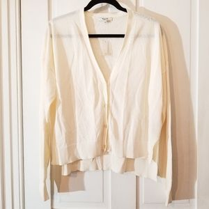 Madewell Lightweight Cream V Neck Hi-Low Cardigan